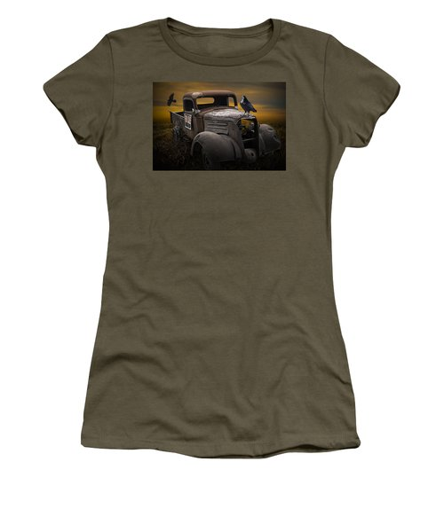 Raven Hood Ornament On Old Vintage Chevy Pickup Truck Women's T-Shirt