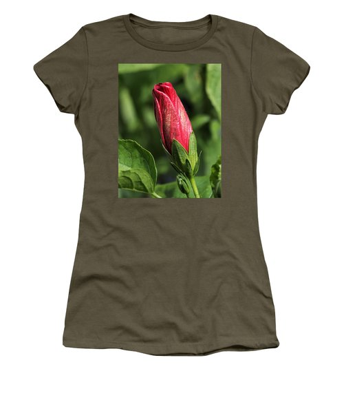 Women's T-Shirt (Athletic Fit) featuring the photograph Red And Gold Hibiscus Bud by Sheila Brown