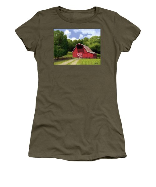 Women's T-Shirt (Junior Cut) featuring the painting Red Barn In Franklin Tn by Janet King