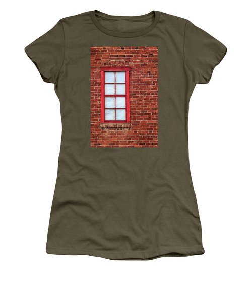 Women's T-Shirt (Junior Cut) featuring the photograph Red Brick And Window by James Eddy