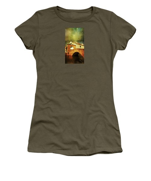 Women's T-Shirt (Junior Cut) featuring the photograph Red Bridge With Storm Cloud by Anne Kotan