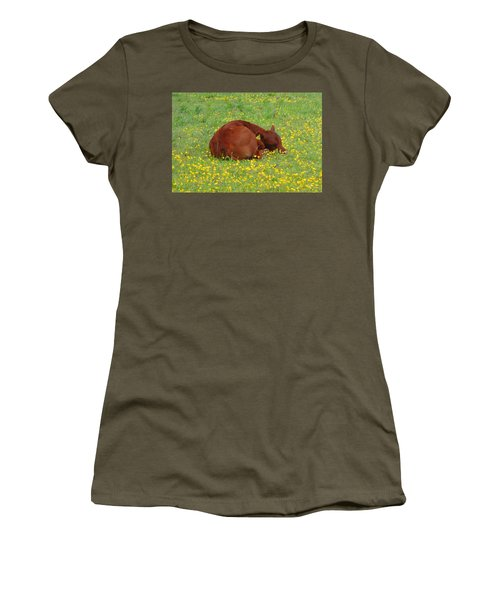 Red Calf In The Buttercup Meadow Women's T-Shirt (Athletic Fit)