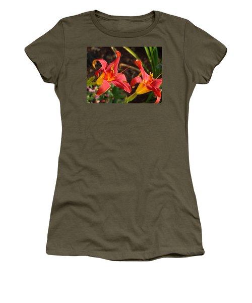 Red Daylilies Women's T-Shirt (Junior Cut) by Rebecca Overton