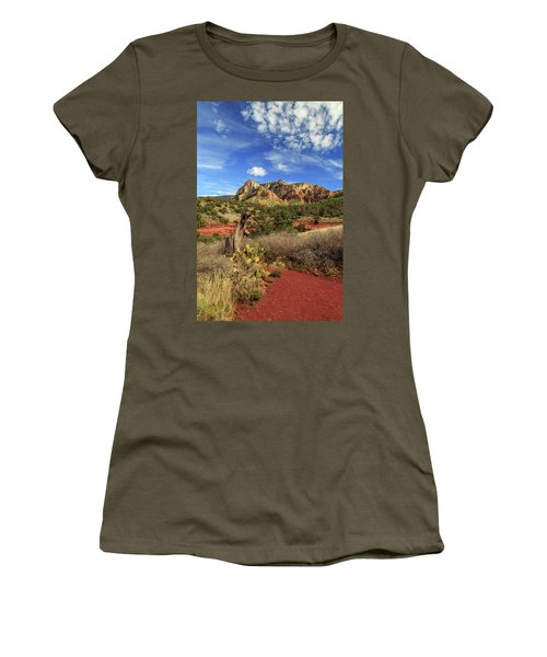 Women's T-Shirt (Junior Cut) featuring the photograph Red Dirt And Cactus In Sedona by James Eddy