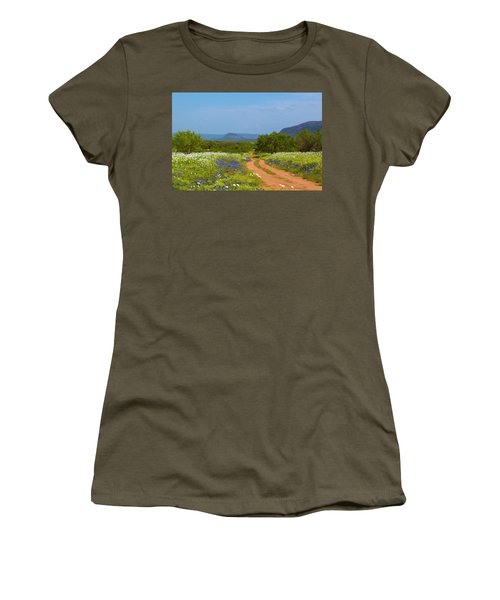 Red Dirt Road With Wild Flowers Women's T-Shirt