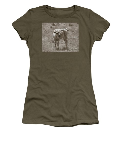 Women's T-Shirt (Junior Cut) featuring the photograph Red Dog Buffalo Calf by Rebecca Margraf