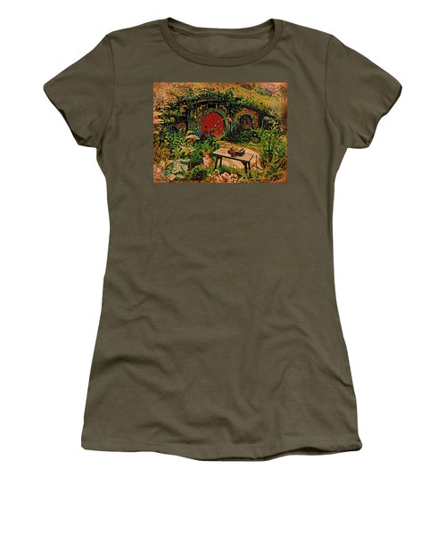 Red Door Hobbit House With Corgi Women's T-Shirt (Junior Cut) by Kathy Kelly