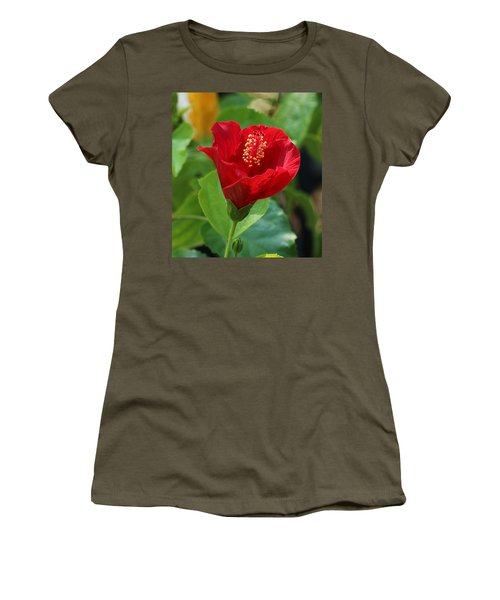 Women's T-Shirt (Athletic Fit) featuring the photograph Red Elegance by Sheila Brown