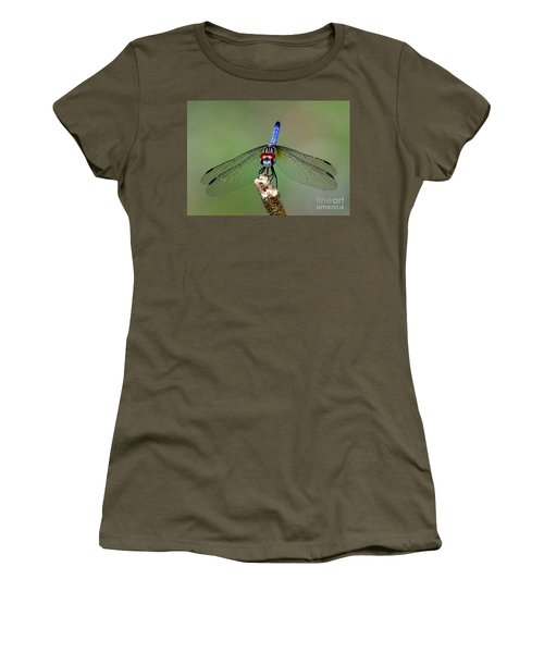 Women's T-Shirt (Junior Cut) featuring the photograph Red Eyed Dragonfly by Myrna Bradshaw