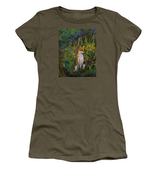 Red Fox Women's T-Shirt (Junior Cut) by FT McKinstry