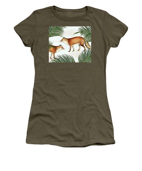 Red Fox Pair Women's T-Shirt (Junior Cut) by Uma Gokhale