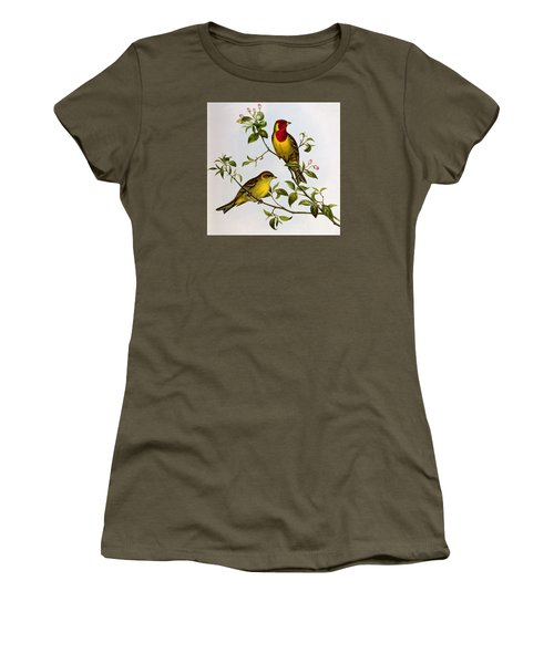 Red Headed Bunting Women's T-Shirt (Junior Cut) by John Gould