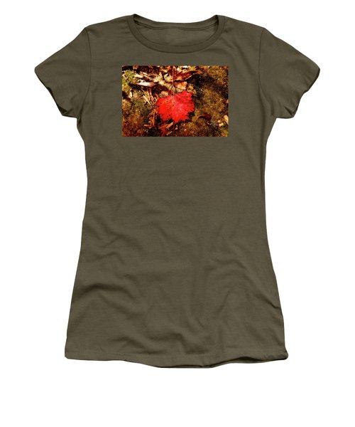 Women's T-Shirt (Junior Cut) featuring the photograph Red Leaf by Meta Gatschenberger