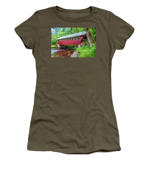 Red Mill Covered Bridge Women's T-Shirt (Junior Cut) by Trey Foerster