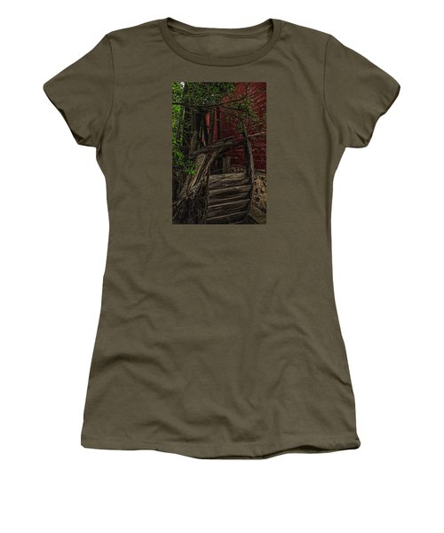 Women's T-Shirt (Junior Cut) featuring the photograph Red Mill Decayed Wheel by Trey Foerster