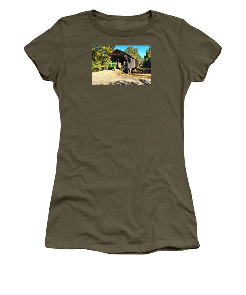 Red Oak Creek Covered Bridge And Tractor Women's T-Shirt (Junior Cut) by James Potts