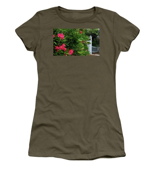 Women's T-Shirt (Junior Cut) featuring the photograph Red Oleander Arbor by Marie Hicks
