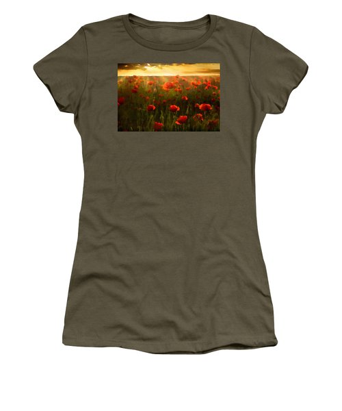 Red Poppies In The Sun Women's T-Shirt (Athletic Fit)