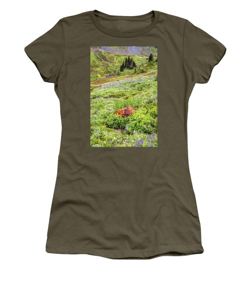 Women's T-Shirt (Junior Cut) featuring the photograph Red Rock Of Rainier by Pierre Leclerc Photography