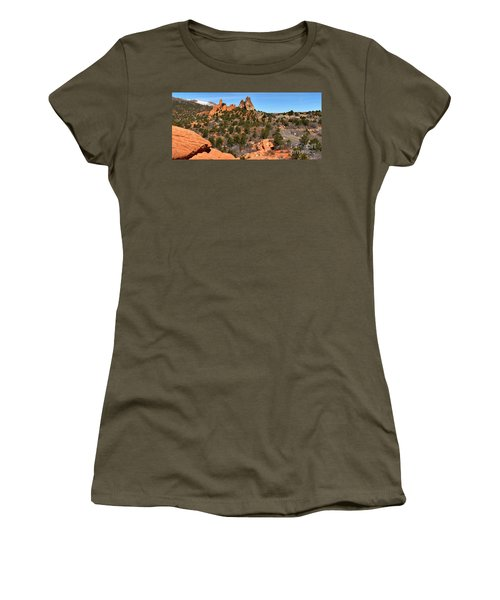 Women's T-Shirt (Junior Cut) featuring the photograph Red Rocks At High Point by Adam Jewell