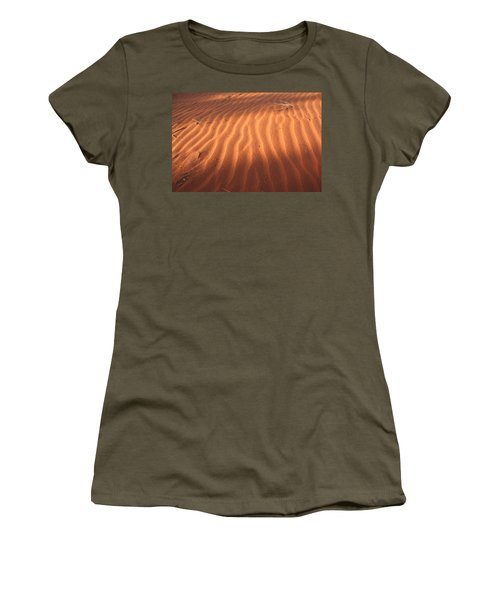 Women's T-Shirt (Athletic Fit) featuring the photograph Red Sand Dune Ripples In Detail by Keiran Lusk