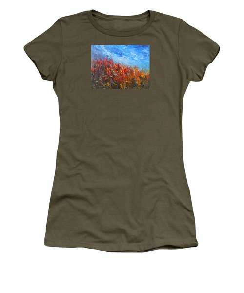 Women's T-Shirt (Junior Cut) featuring the painting Red Sensation by Jane See