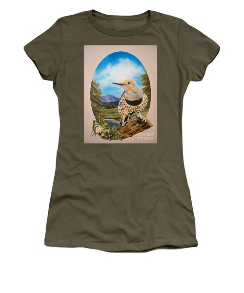 Red Shafted Flicker Women's T-Shirt (Junior Cut) by Sigrid Tune
