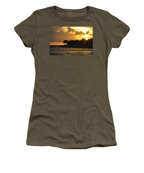 Women's T-Shirt (Junior Cut) featuring the photograph Red Sky At Night Over Sunset Key by John Black