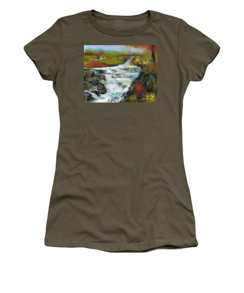 Women's T-Shirt (Junior Cut) featuring the painting Yellow Fields With Red Sumac by Frances Marino