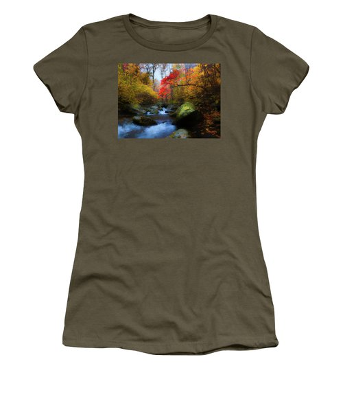 Red Tree In White Oak Canyon Women's T-Shirt (Athletic Fit)