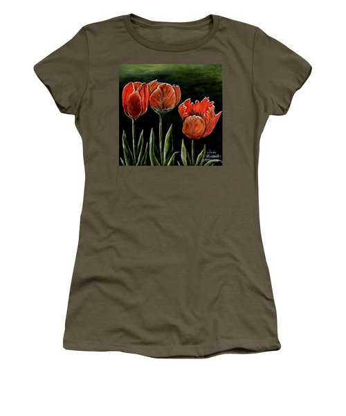 Women's T-Shirt (Junior Cut) featuring the photograph Red Tulips by Judy Kirouac