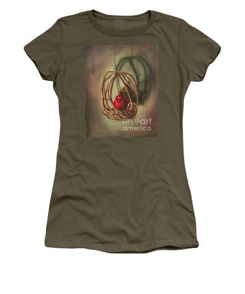 Women's T-Shirt (Junior Cut) featuring the painting Redbird by Randol Burns