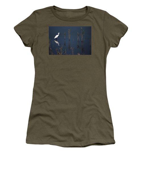 Reflection Of Little Egret In Lake Women's T-Shirt
