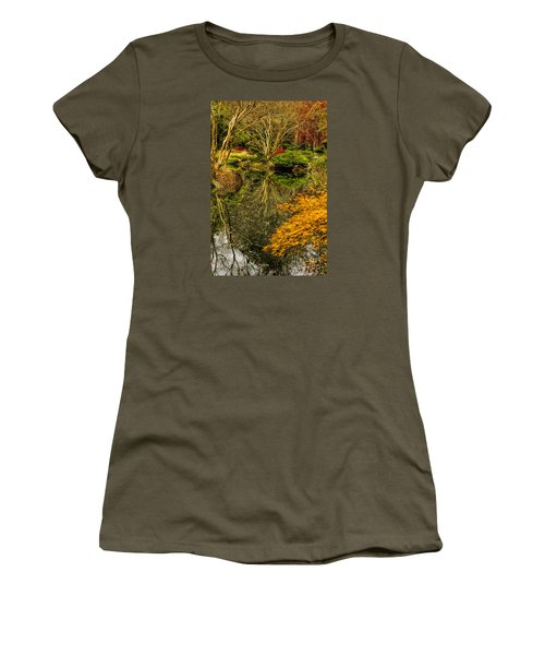 Women's T-Shirt (Junior Cut) featuring the photograph Reflections At Japanese Gardens by Barbara Bowen