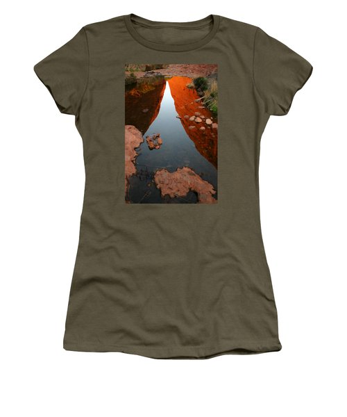 Women's T-Shirt (Athletic Fit) featuring the photograph Reflections At Kata Tjuta In The Northern Territory by Keiran Lusk