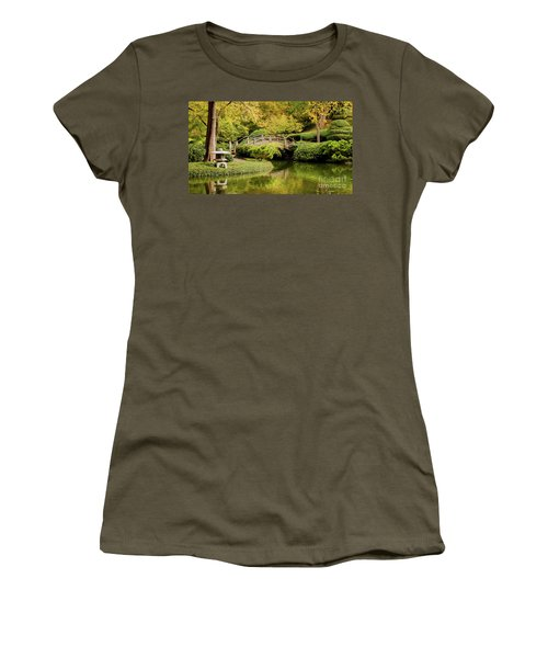 Women's T-Shirt (Junior Cut) featuring the photograph Reflections In The Japanese Garden by Iris Greenwell