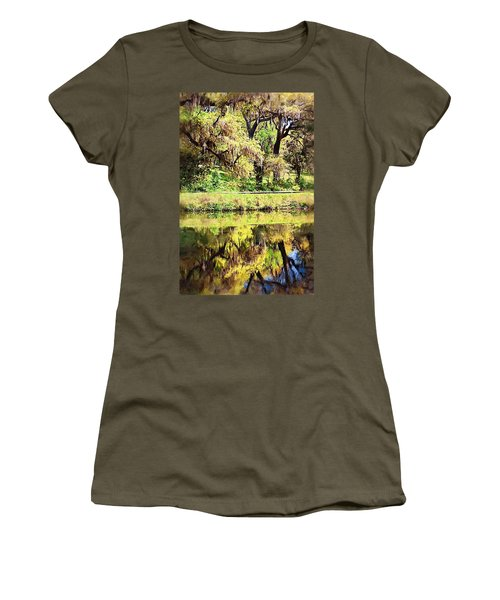 Women's T-Shirt (Junior Cut) featuring the photograph Reflective Live Oaks by Donna Bentley