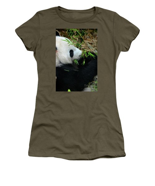 Relaxed Panda Bear Eats With Green Leaves In Mouth Women's T-Shirt
