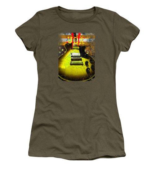 Women's T-Shirt featuring the digital art Relic Guitar Music Patriotic Usa Flag by Guitar Wacky