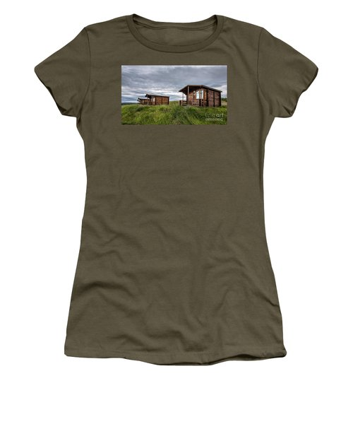 Women's T-Shirt (Athletic Fit) featuring the photograph Remote Cabins Myvatn Iceland by Edward Fielding