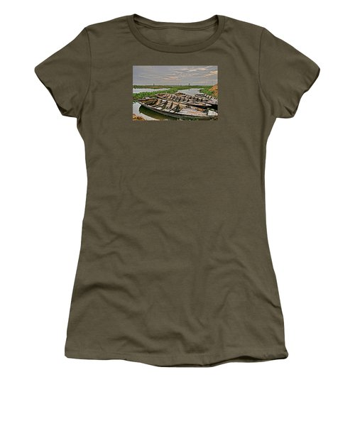 Women's T-Shirt (Junior Cut) featuring the photograph Rest Of Boat by Arik S Mintorogo