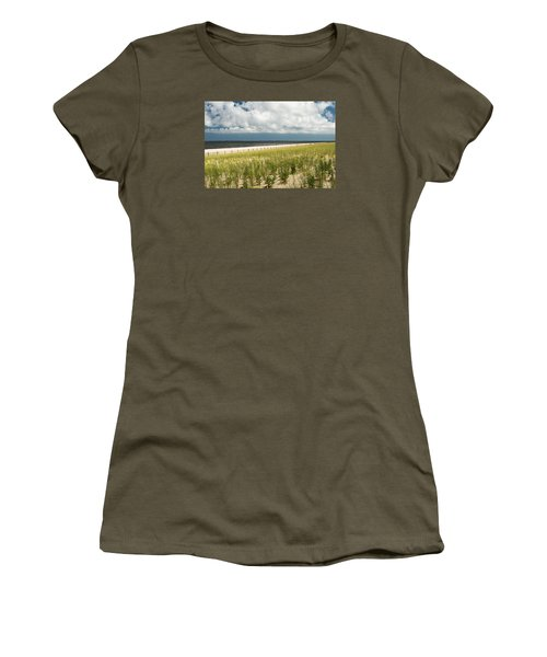 Women's T-Shirt (Junior Cut) featuring the photograph Restoring The Sand Dunes by Gary Slawsky