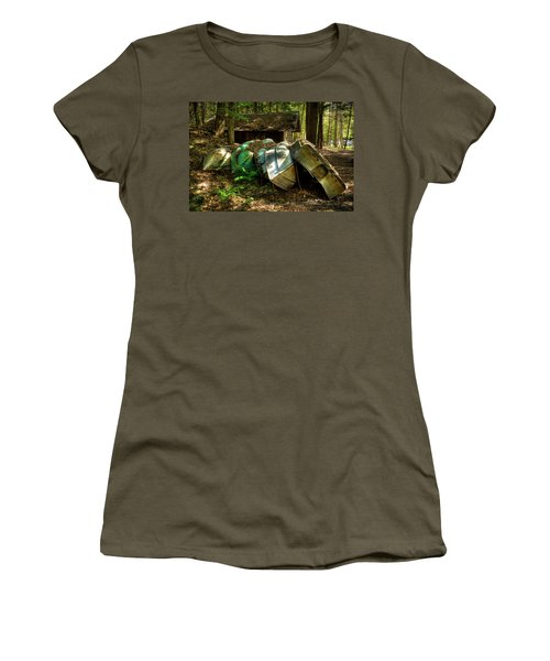 Women's T-Shirt (Athletic Fit) featuring the photograph Retired Rowboats by David Patterson