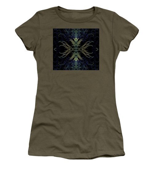Women's T-Shirt (Junior Cut) featuring the digital art Rhapsody In Blue And Gold by Lea Wiggins