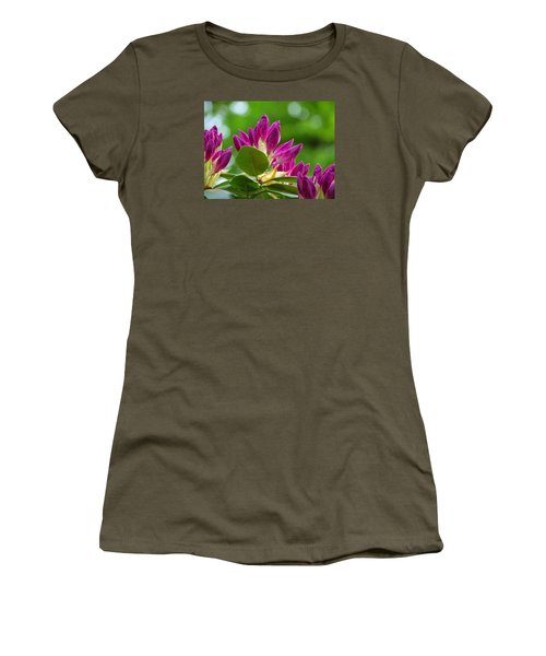 Rhododendron Buds Women's T-Shirt (Junior Cut) by MTBobbins Photography