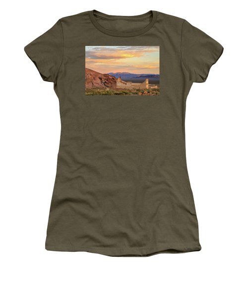 Women's T-Shirt (Athletic Fit) featuring the photograph Rhyolite Bank At Sunset by James Eddy