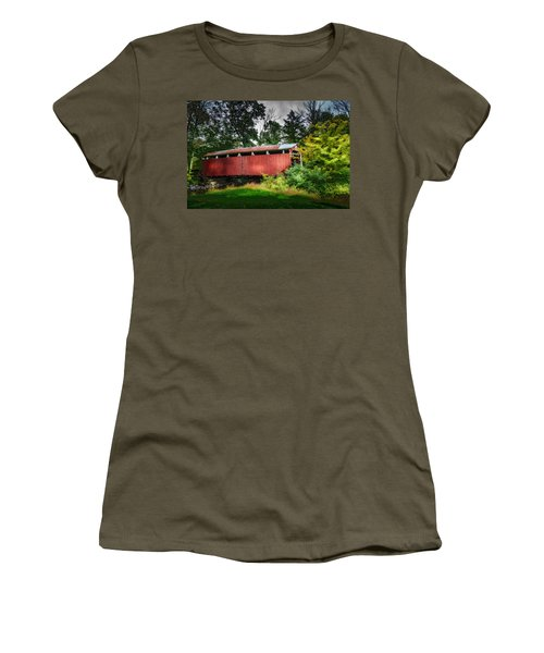 Women's T-Shirt (Junior Cut) featuring the photograph Richards Covered Bridge by Marvin Spates