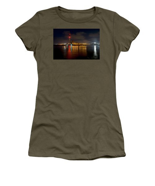 Women's T-Shirt (Athletic Fit) featuring the photograph Riding Station, Tel Aviv, Water Side by Dubi Roman