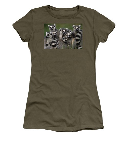 Women's T-Shirt featuring the photograph Ring-tailed Lemur Lemur Catta Group by Gerry Ellis