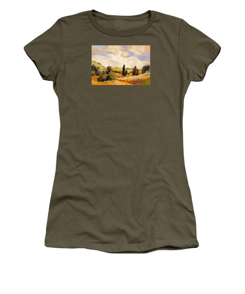 Women's T-Shirt (Junior Cut) featuring the painting Rising Heat by Rae Andrews